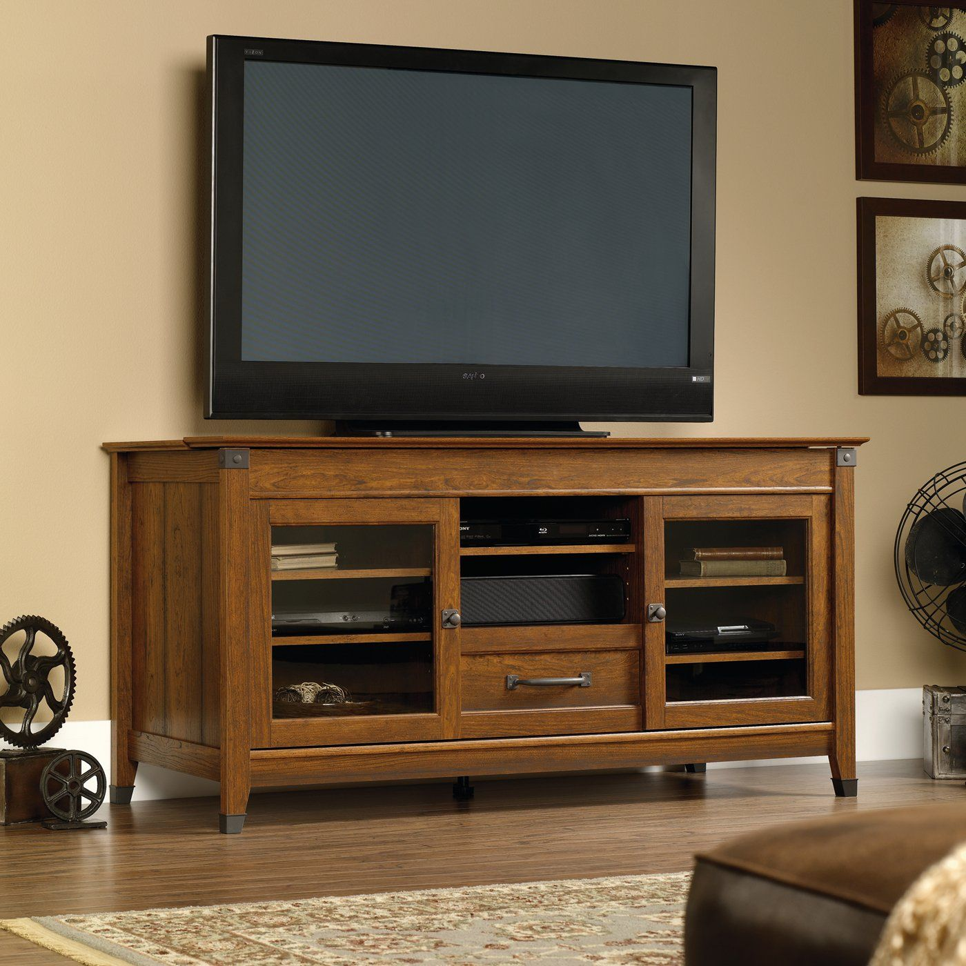 Sauder 412922 Carson Forge Entertainment Credenza   Home Furniture Showroom