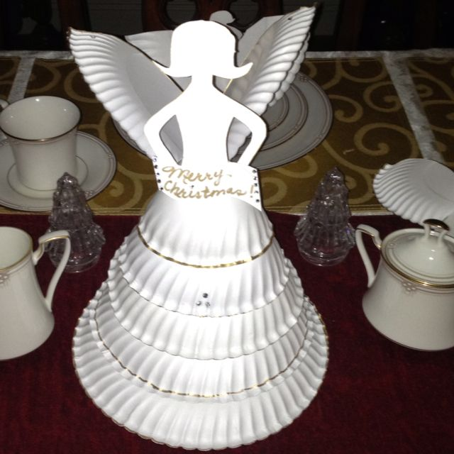 Paper plate Angel Centerpiece & Paper plate Angel Centerpiece | All Things Christmas | Pinterest ...