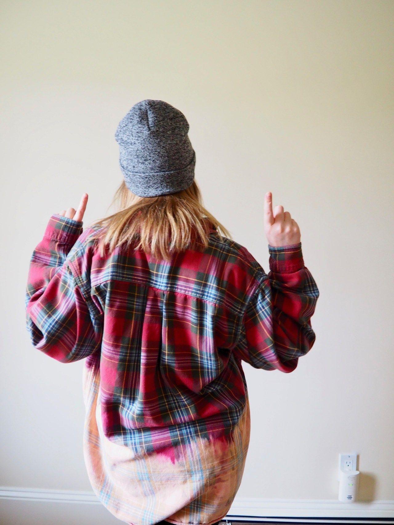 Dip Dye Flannel: a DIY you can wear | Bleach shirt diy ...