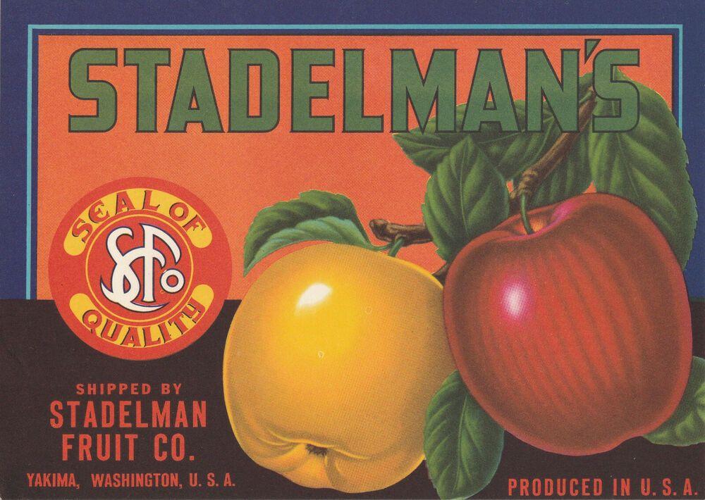 Original Vintage 1940 S Apple Crate Label Yakima Washington Stadelman S 8 X 6 Ebay In 2020 Crate Label Apple Crates Fruit Crate Label