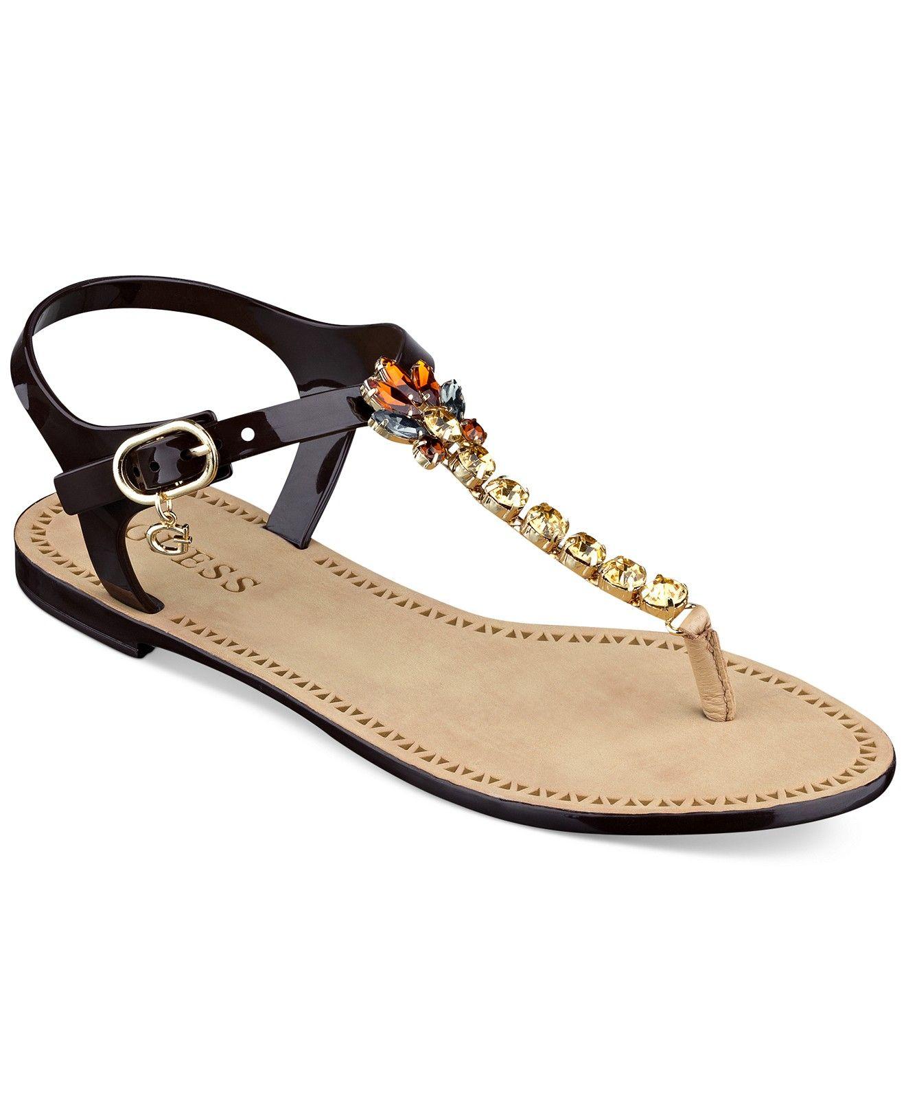 3a6b06d559d GUESS Women s Adona Flat Chain Thong Sandals - Sandals - Shoes - Macy s