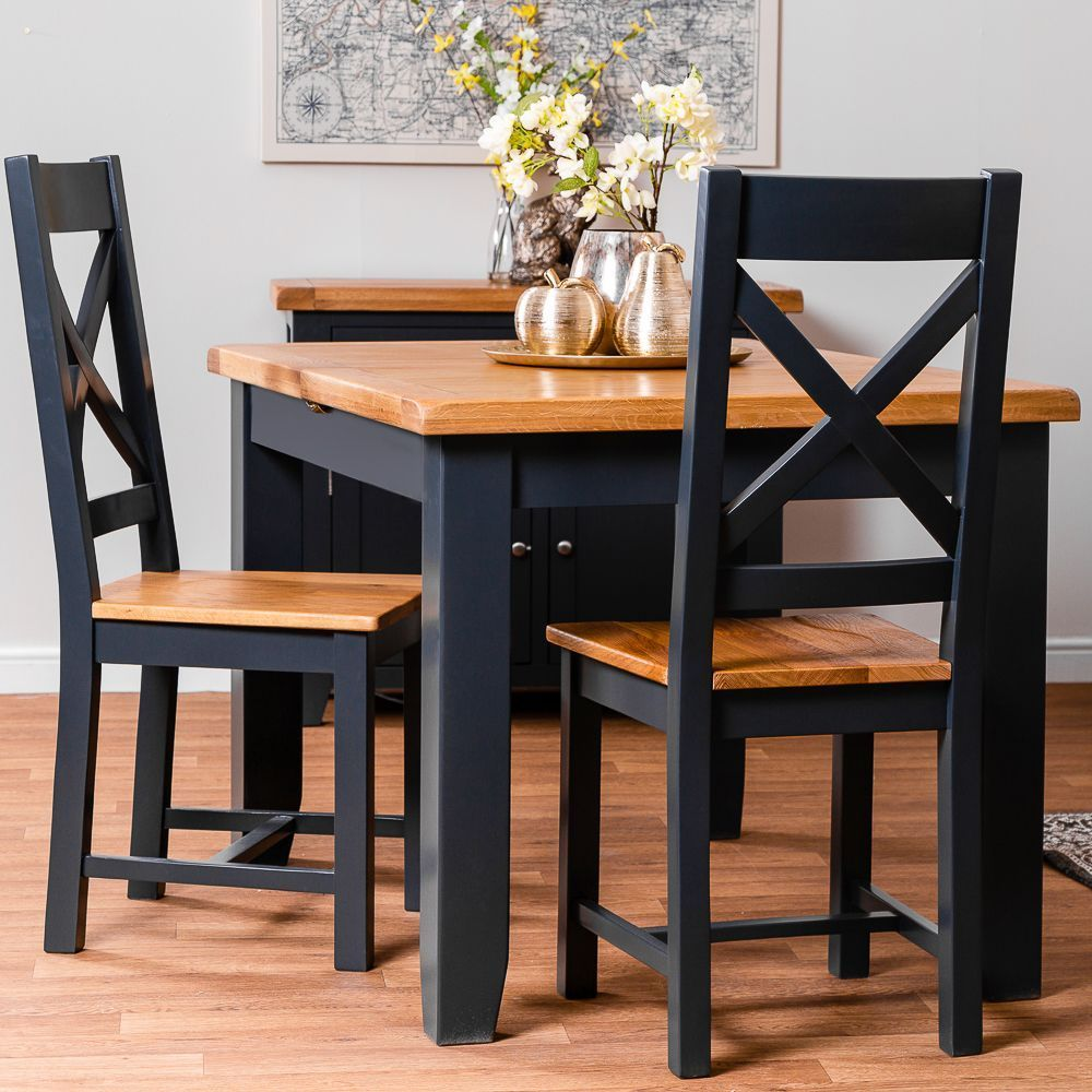 Hampshire Blue Painted Oak Small Extending Dining Table in ...