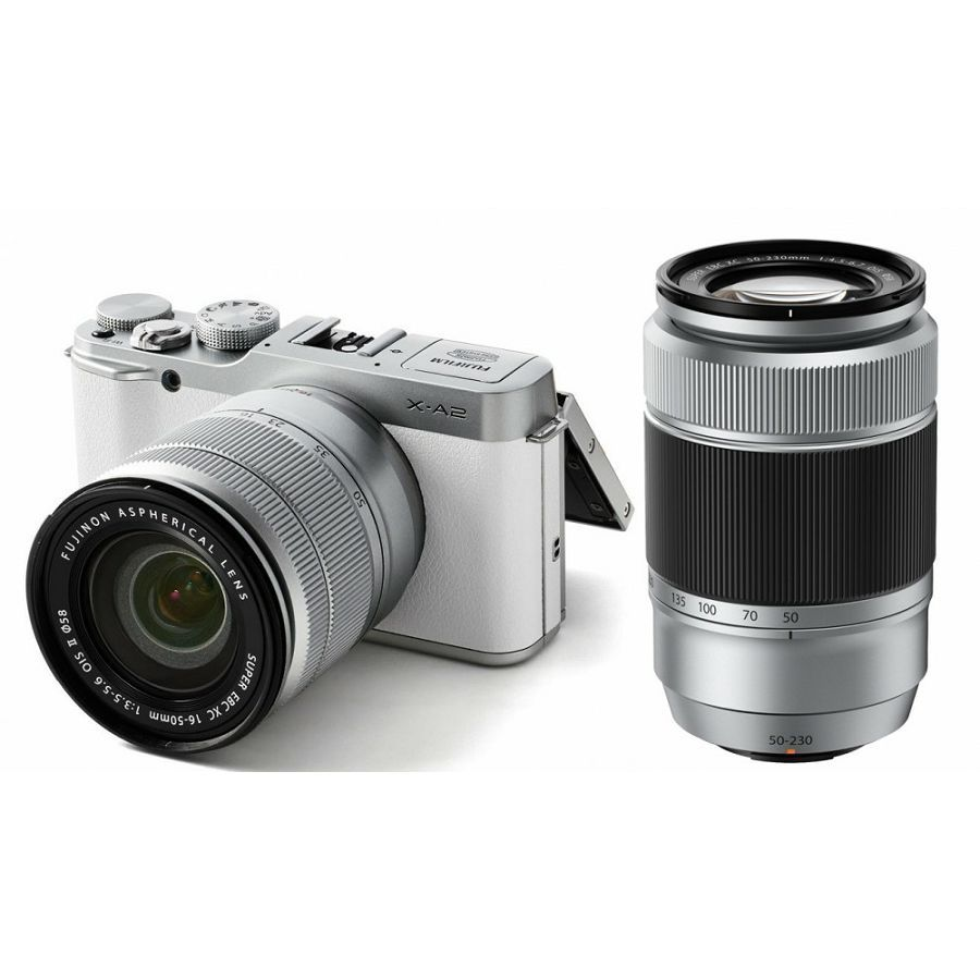 Fujifilm X-A2 + XC 16-50 II f3 5-5 6 + XC 50-230mm II f4 5-6 7 white New 175° Tilting LCD for easy self-portraits New New XC16-50mm II kit lens with a minimum working distance of 15cm for macro photography New New XC50-230mm II kit lens with