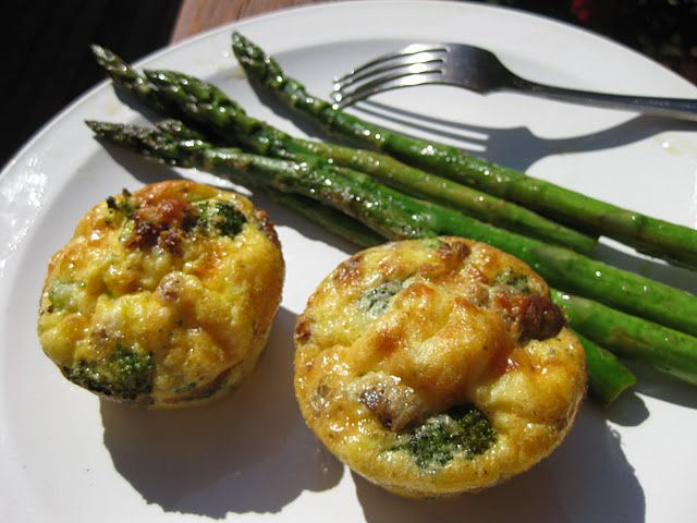 Broccoil and Italian sausage egg muffins