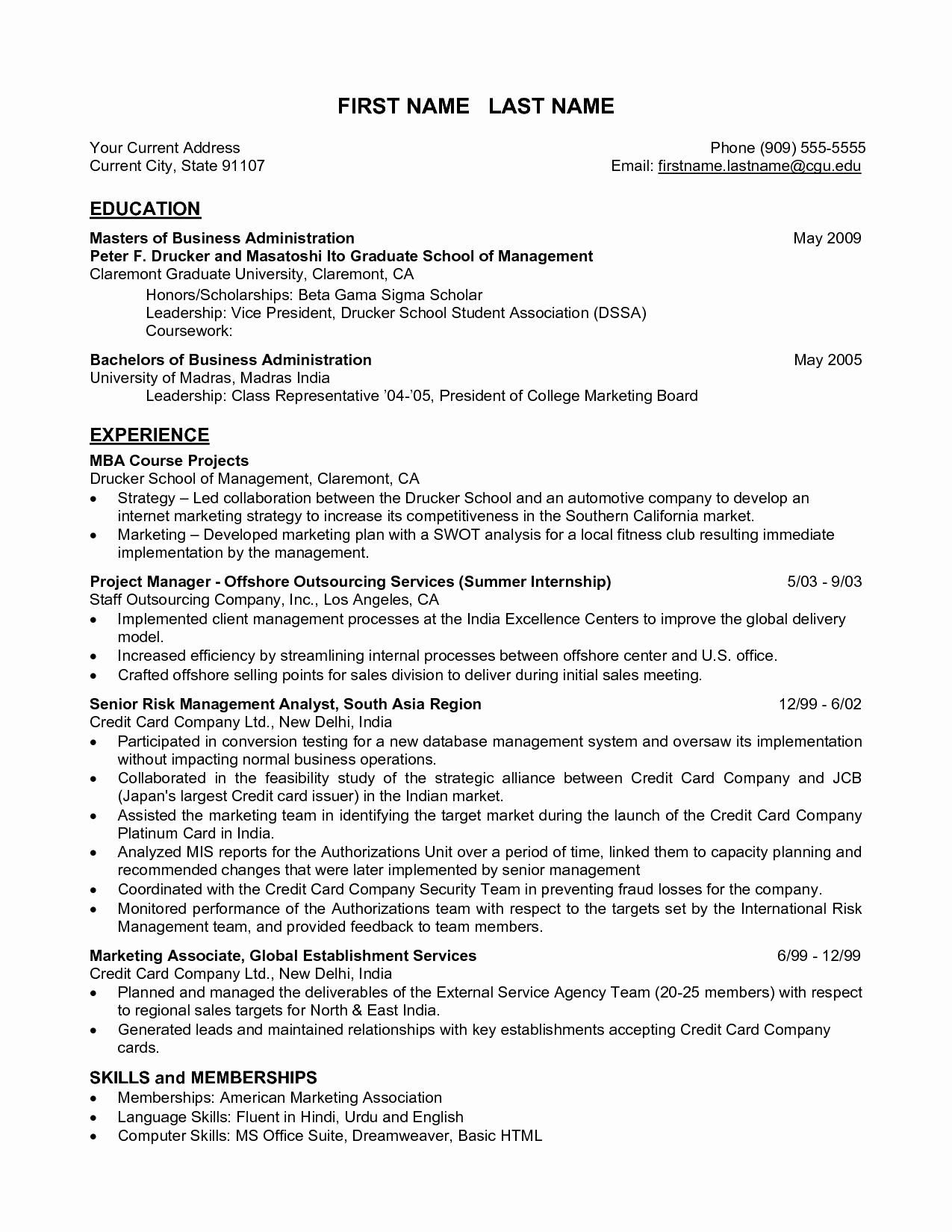 Mba Finance Fresher Resume format Fresh Sample Mba Resume
