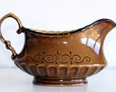Vintage Brown Gravy Boat Retro Home Decor Housewares Brown Patterned Thanksgiving Decor