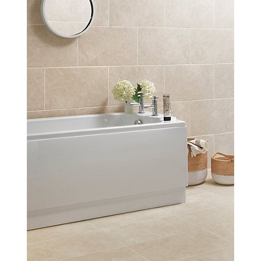 Wickes Mayfield Beige Ceramic Tile 500 X 300mm Bathroom