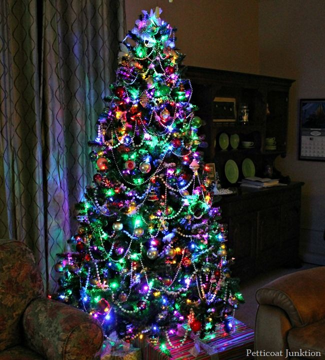 Clear Or Multi Color Christmas Tree Lights How About Both Petticoat Junktion Christmas Tree With Coloured Lights Colorful Christmas Tree Christmas Tree Lighting