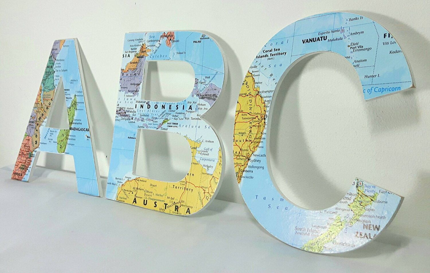 Letters wall decor uk map
