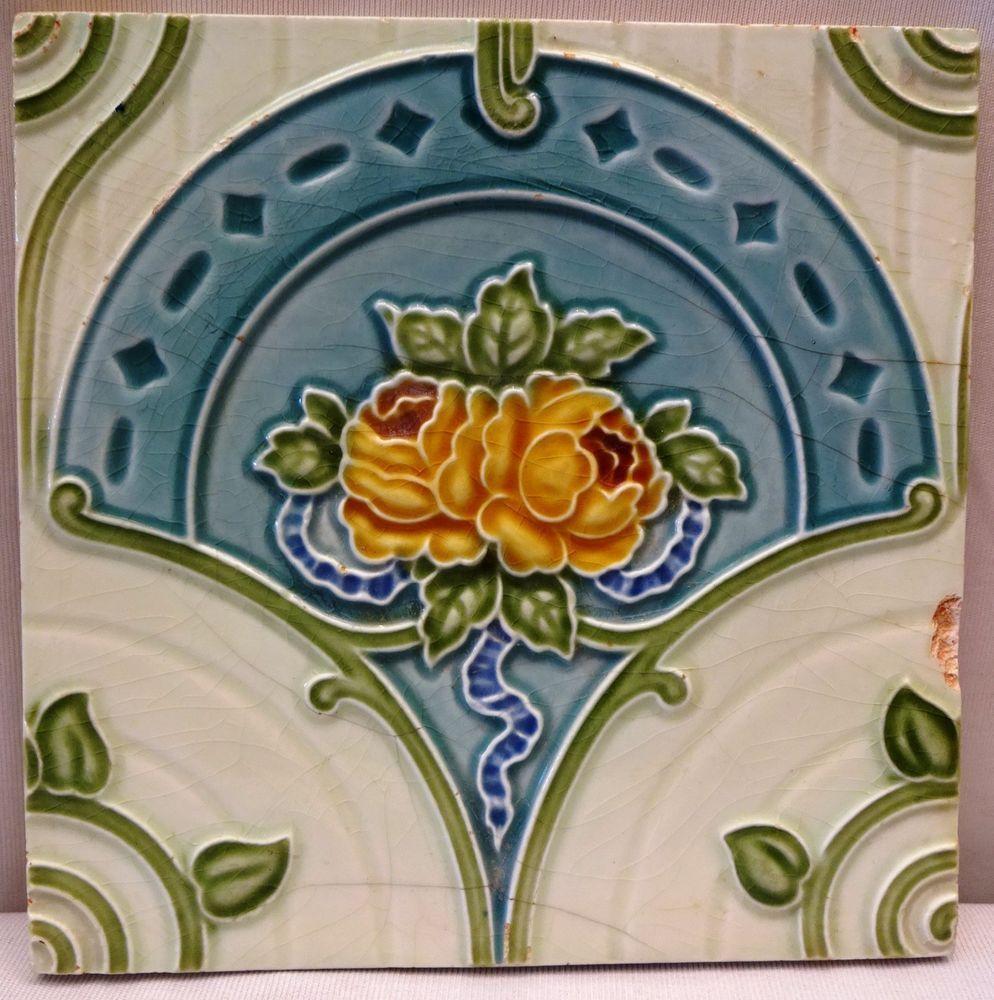 Tile Ceramic Porcelain Vintage Art Nouveau Rose H R Johnson