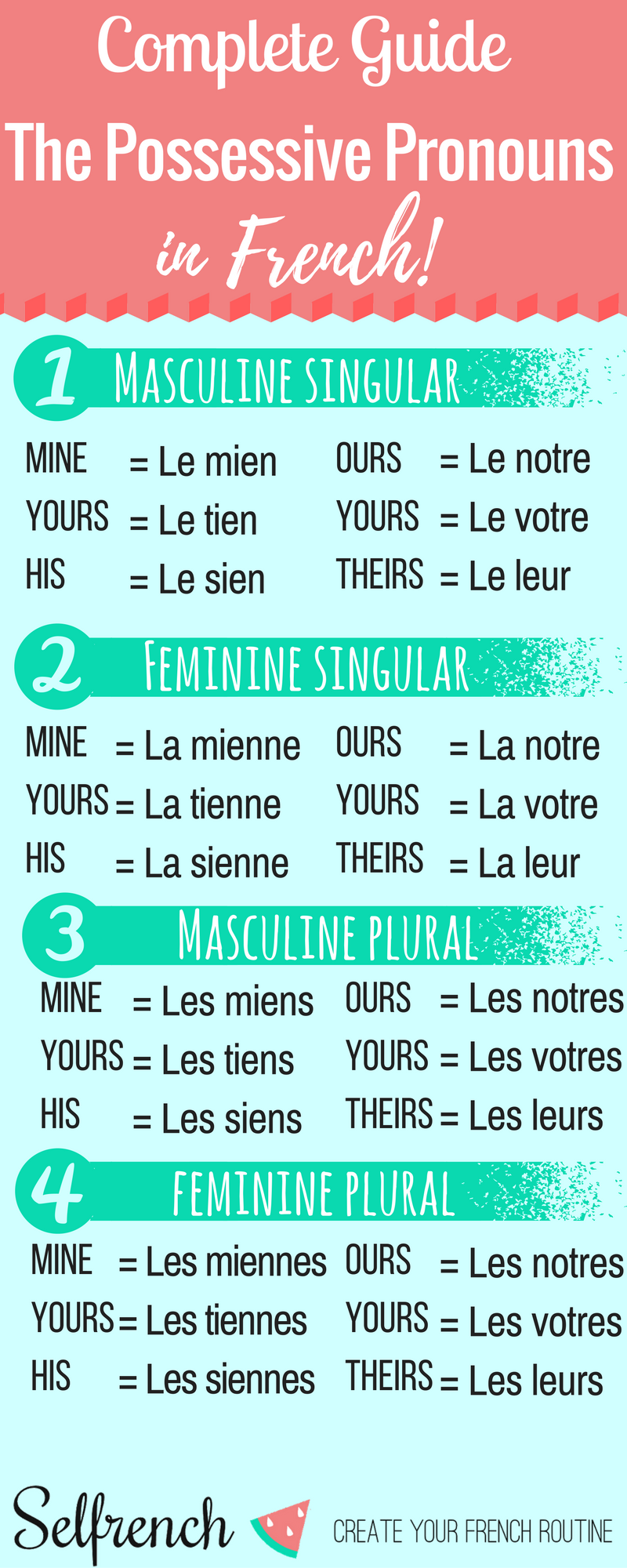 the possessive pronouns in french