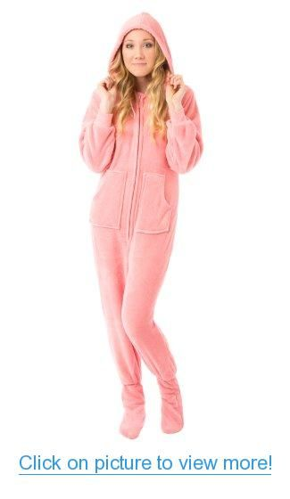 Big Feet Pjs Pink Hoodie Plush Footed Pajamas w/Drop Seat