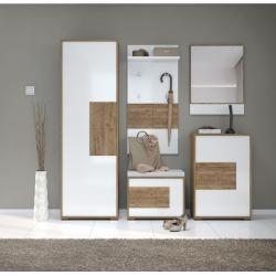Photo of Garderobe komplett – Set C Manase, 5 stk, farge: eikebrun / hvit høyglans Steinersteiner