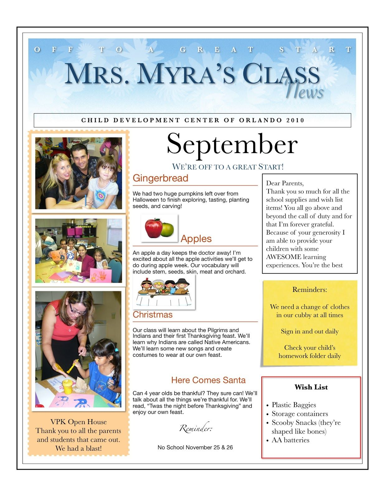 preschool newsletter ideas