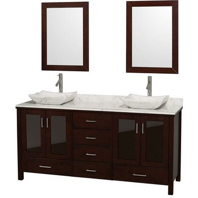 "Northampton 72 Double Bathroom Vanity Set lucy 72"" double espresso bathroom vanity set with mirror top"