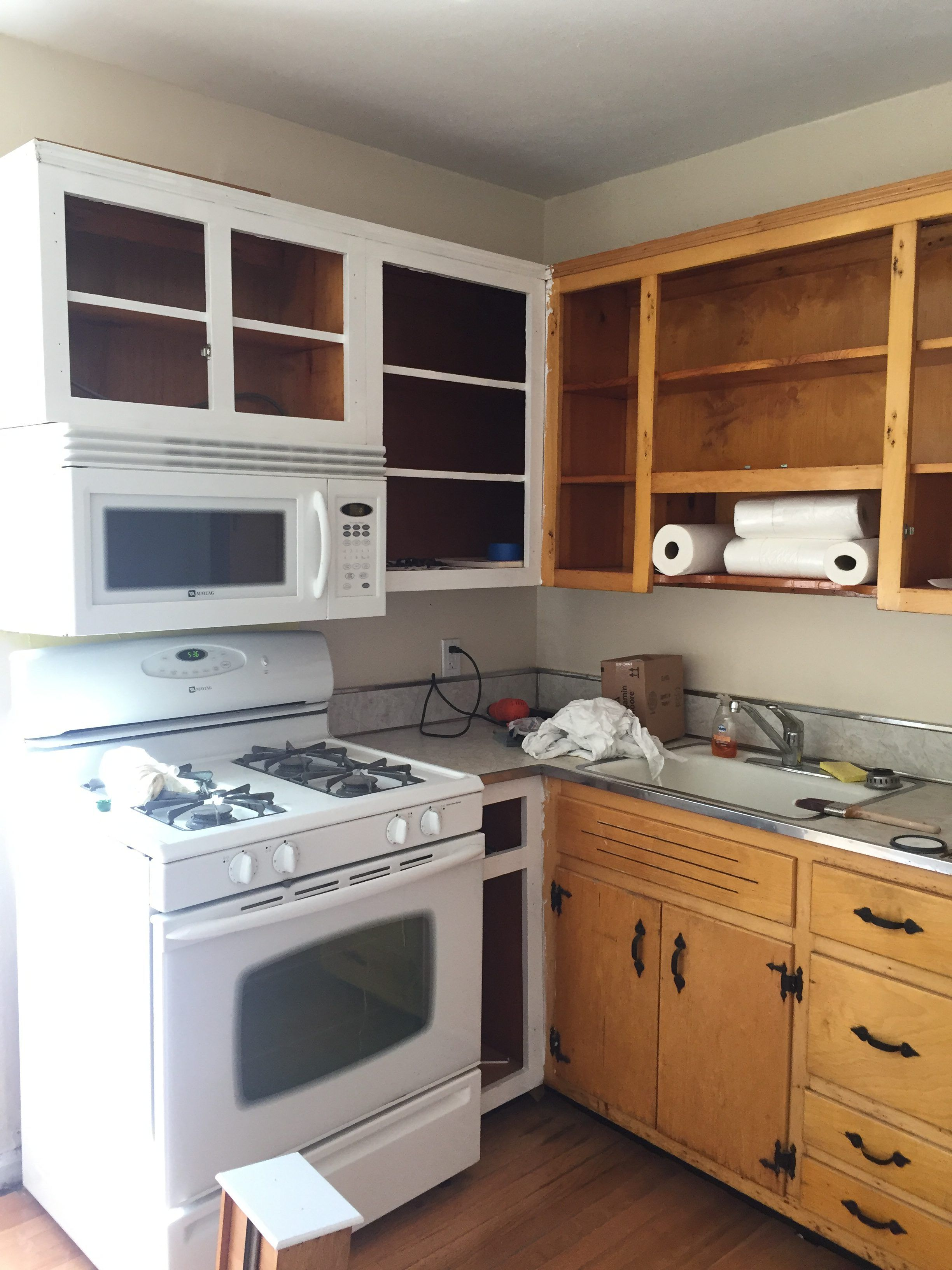 Kitchen Before After How I Painted My Kitchen Cabinets White Steffy S Pros Cons Kitchen Cabinets Vintage Kitchen Cabinets Top Kitchen Cabinets