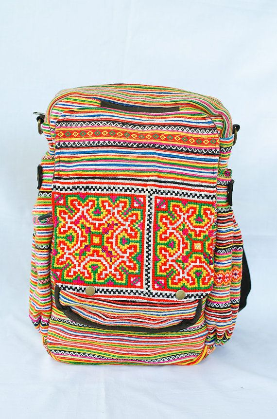 Backpack Hmong Bag Handmade by thai Hill Tribe Embroidered Hippy colorful on Etsy, $26.26