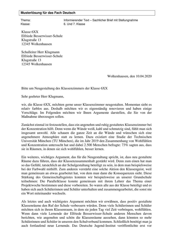 Musterlosung Sachlicher Brief Mit Stellungnahme Unterrichtsmaterial Im Fach Deutsch Brief Schulleitung Muster