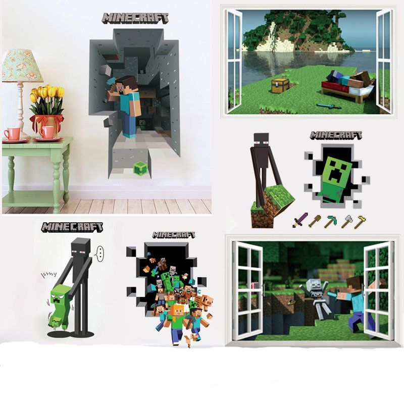 date minecraft stickers muraux 3d fonds dcran enfants chambre stickers minecraft steve dcoration de - Jeux De Decoration De Maison 3d