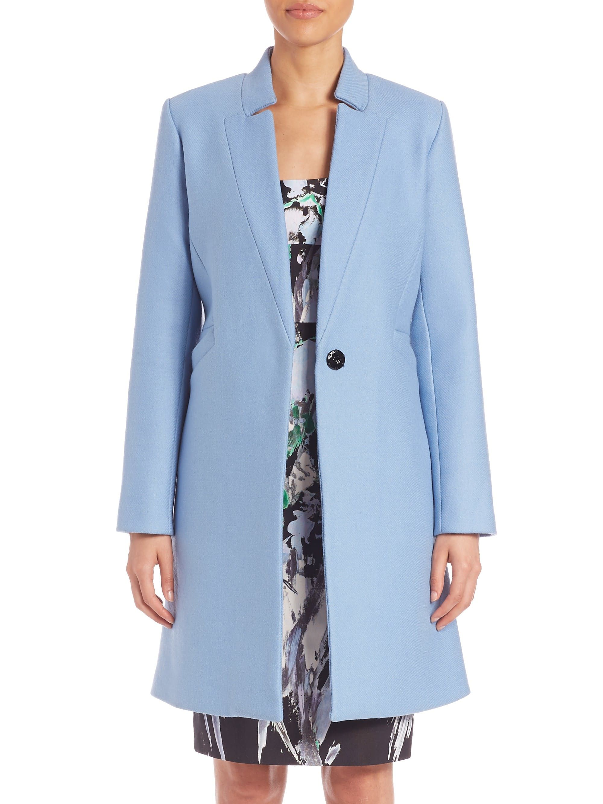 Solid Virgin Wool Blend Coat By Milly Coat Stand Collar Coat Clothes Design [ 2667 x 2000 Pixel ]