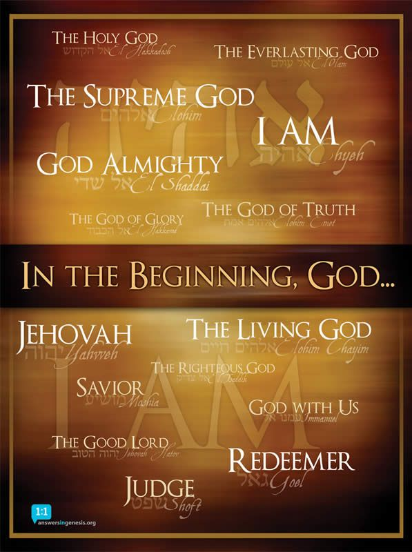 Names of God Poster | Names of god, In the beginning god, God the father