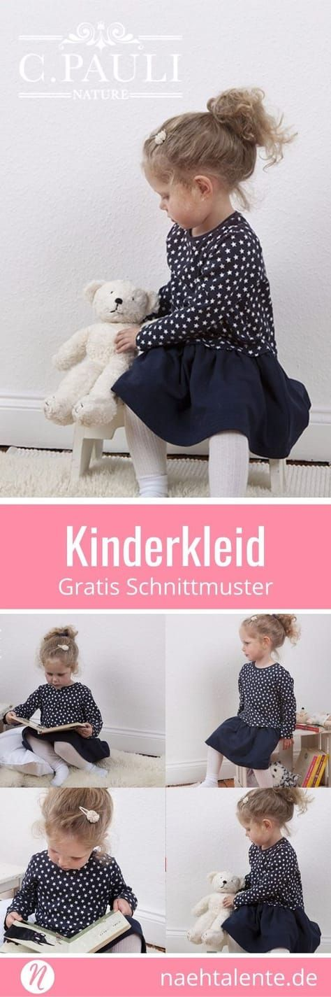 Kinderkleid mit Kräuselrock - Freebook | Nähtalente #freebookschnittmuster