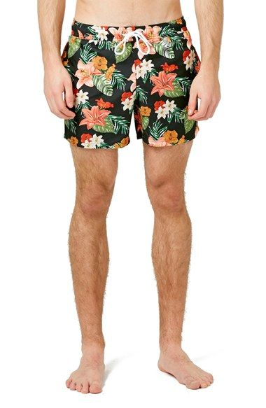 Free shipping and returns on Topman Tropical Floral Print Swim Trunks at  Nordstrom.com.