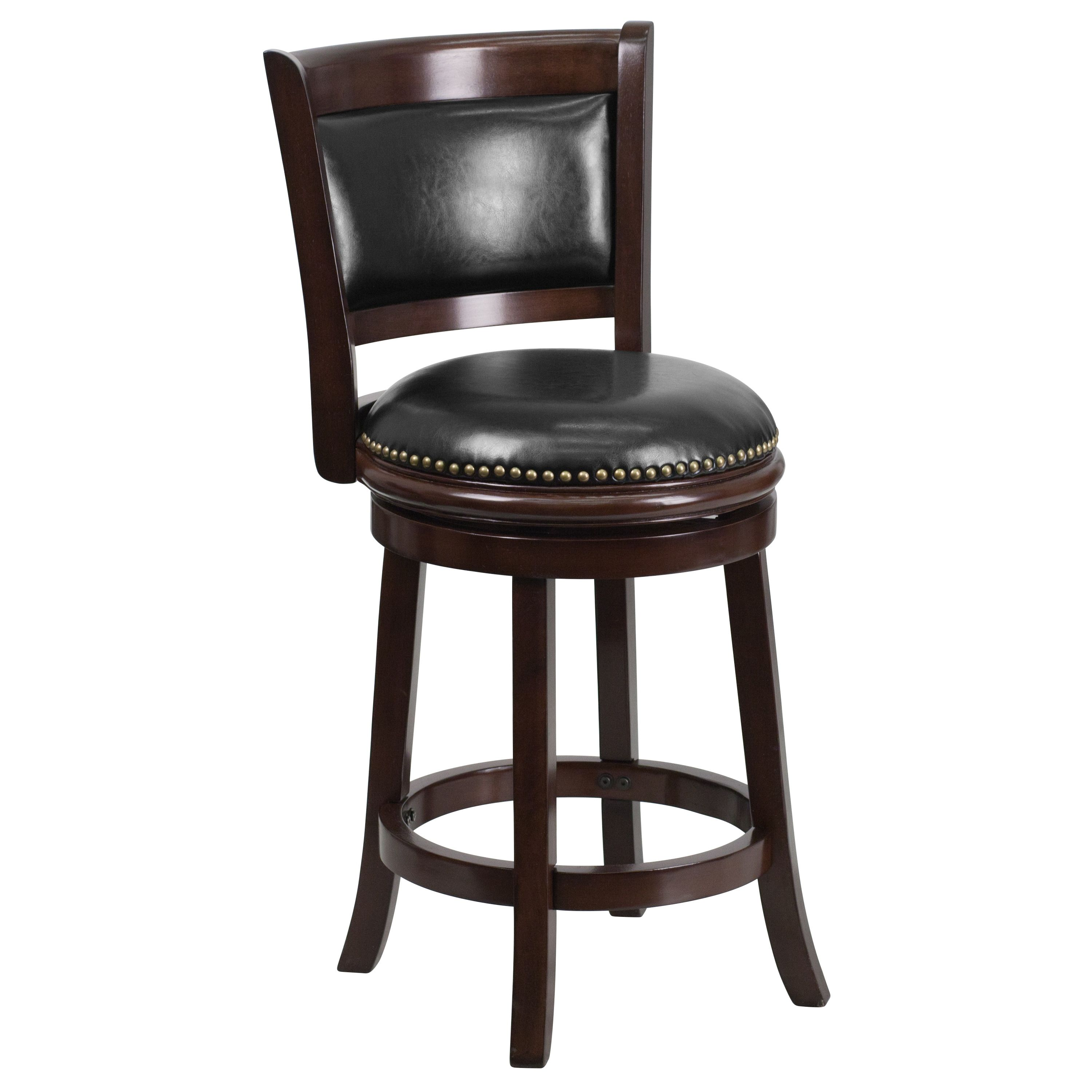 Cappuccino Wood And Black Leather Swivel Counter Height Stool 1