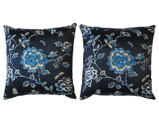 Navy Blue Silk and Velvet Floral Pillow Pair | The Local Vault