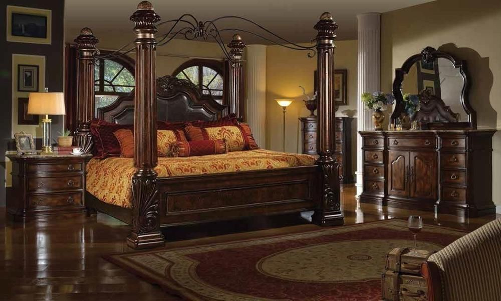 Amazing McFerran B6003 Tuscan 4Pcs Brown Cal King Post Bedroom Set