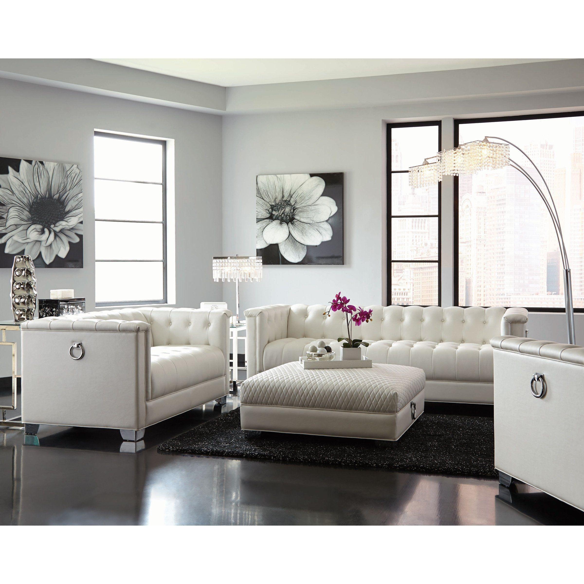 Hailey Contemporary 3 Piece Living Room Set Silver White Furniture Living Room Modern Furniture Living Room Living Room Sets Furniture