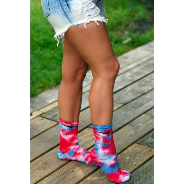 5a1c49885 Red White and Blue Tie Dye Nike Crew Socks (1850 ALL) ❤ liked on ...