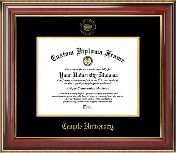 Temple University Diploma Frame - Embossed Seal - Mahogany Gold Trim ...