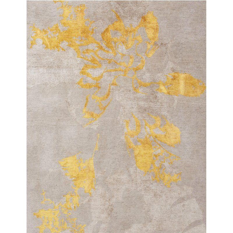 Rug Art One Of A Kind Shadow Hand Knotted 8 X 10 Wool Silk Gray Gold Area Rug Perigold Rugs On Carpet Area Rugs Modern Rugs