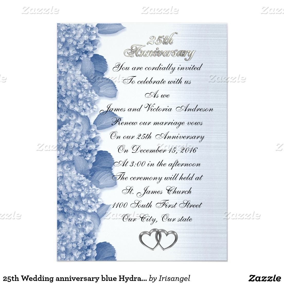 25th Wedding anniversary blue Hydrangea Invitation | Pinterest | 25 ...