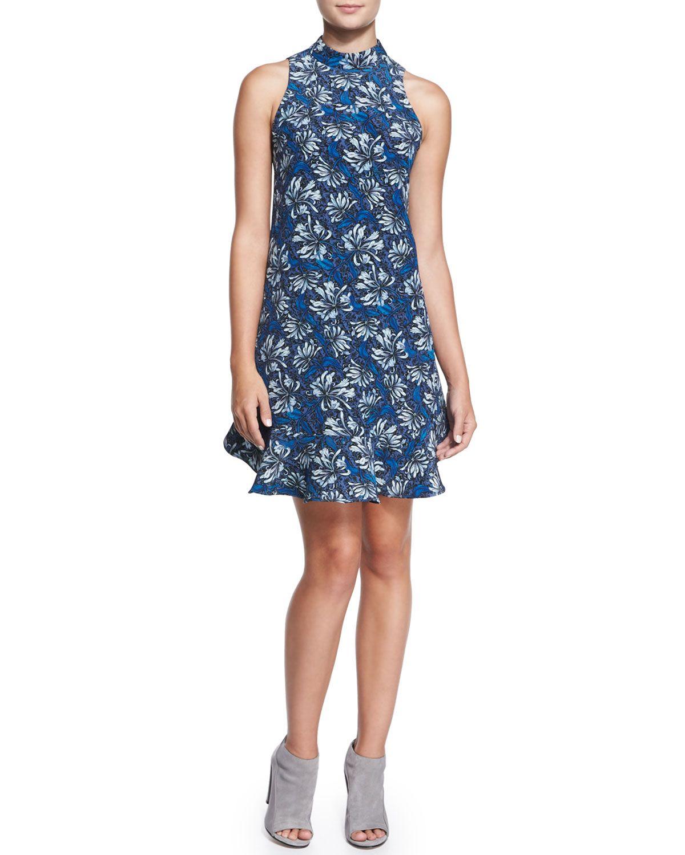Sleeveless Mystic Floral Flare-Hem Dress, Navy, Size: 12, Navy Combo - Rebecca Taylor