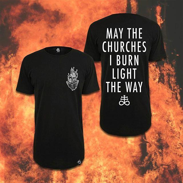 "May The Churches I Burn Light The Way ⛪ ""Light The Way"" Long Tee available at www.crmc-clothing.co.uk | WE SHIP WORLDWIDE #burningchurches #blasphemy #fire #satan #fuckgod #altfashion #alternative #instafashion #fashionstatement #fashiongram #fashionista #instastyle #stylegram #burningchurch #menwithtattoos #blackmetal"