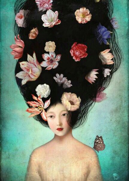 Woman with flowers in hair art