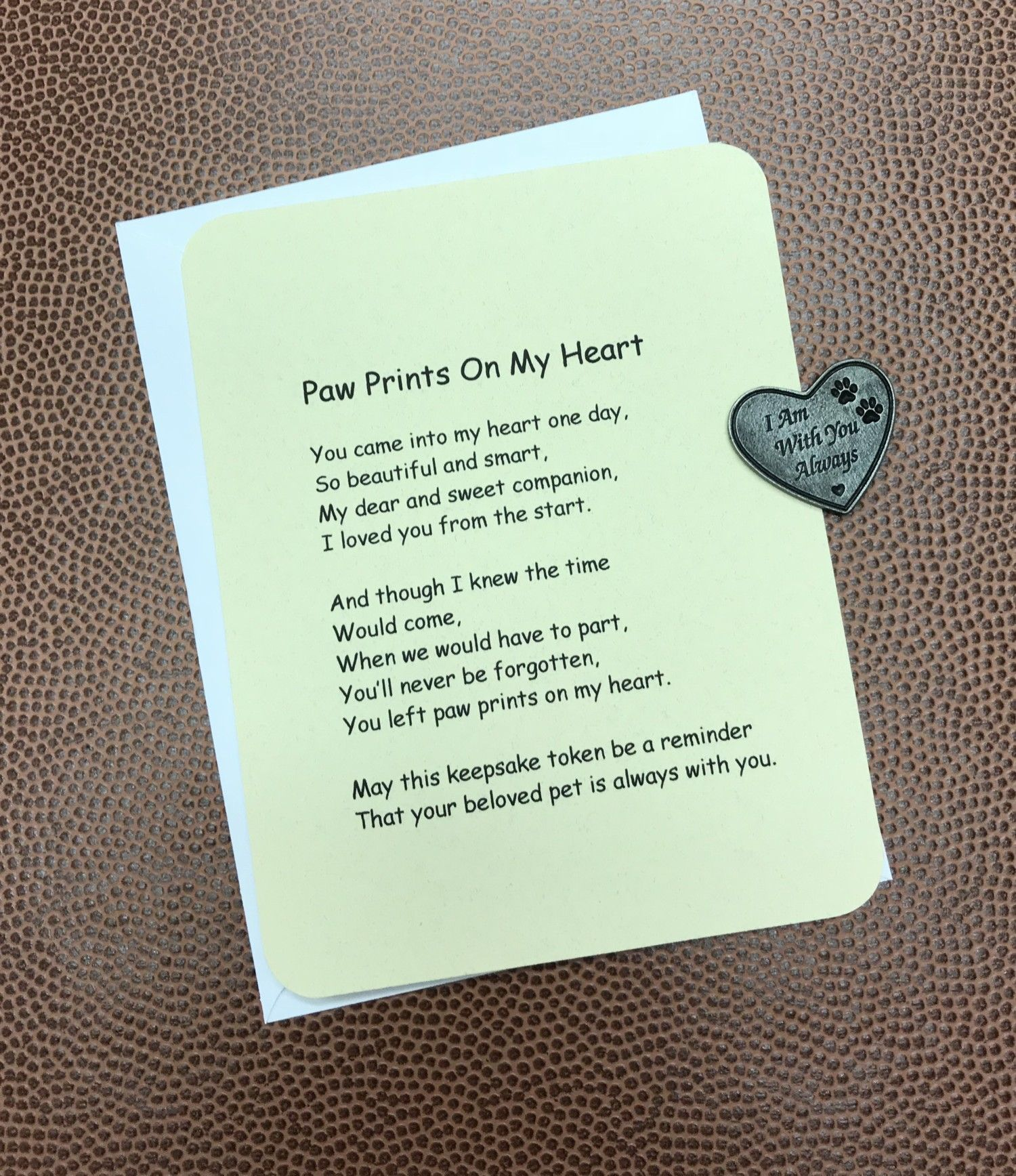 Paw Prints On My Heart Poem & Token Set This heart shaped token and ...