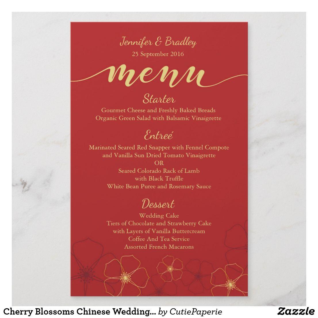 Chinese Wedding Food Menu: Cherry Blossoms Chinese Wedding Dinner Menu