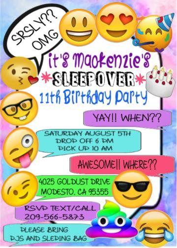 emoji birthday invitation party invitation printable invitation
