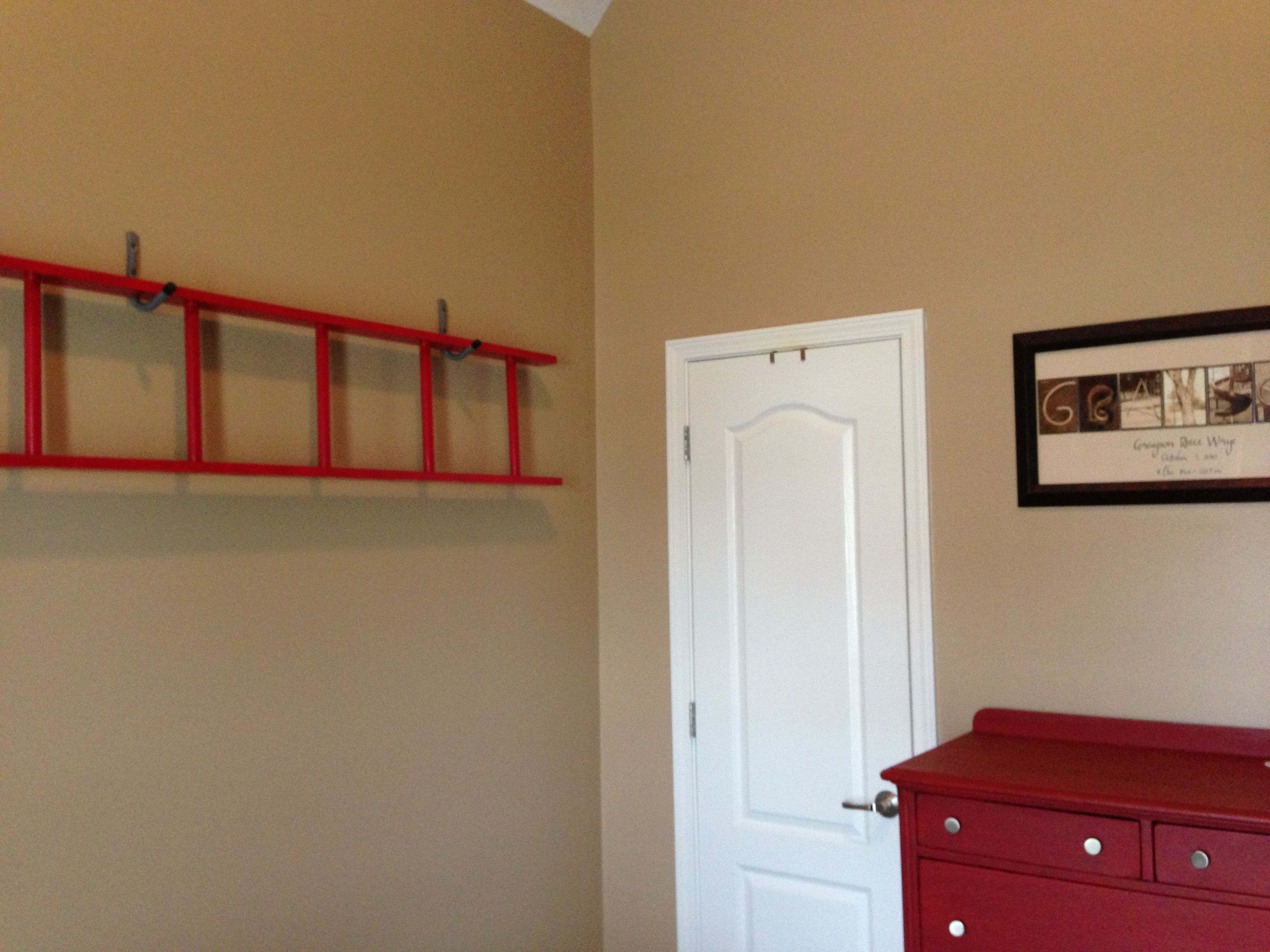 Ladder decor for toddler firetruck room One day