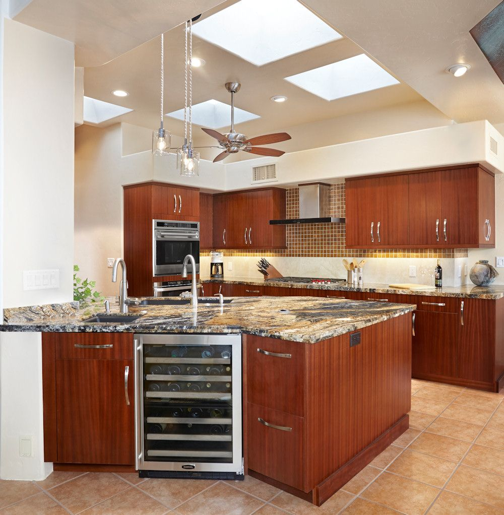 Contemporary Modern, Ribbon Cut Stained Mahogany Cabinetry With Volcano Granite  Countertops. Dual Purpose Under