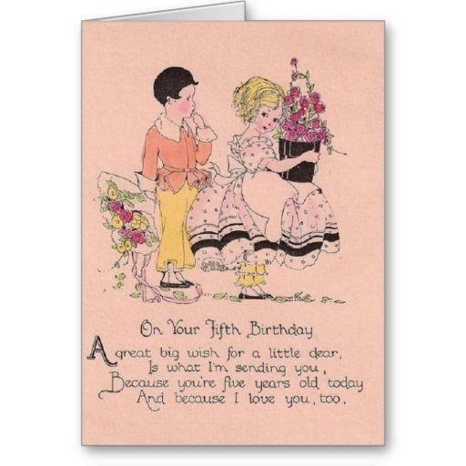 Vintage 5 Year Old Birthday Greeting Card