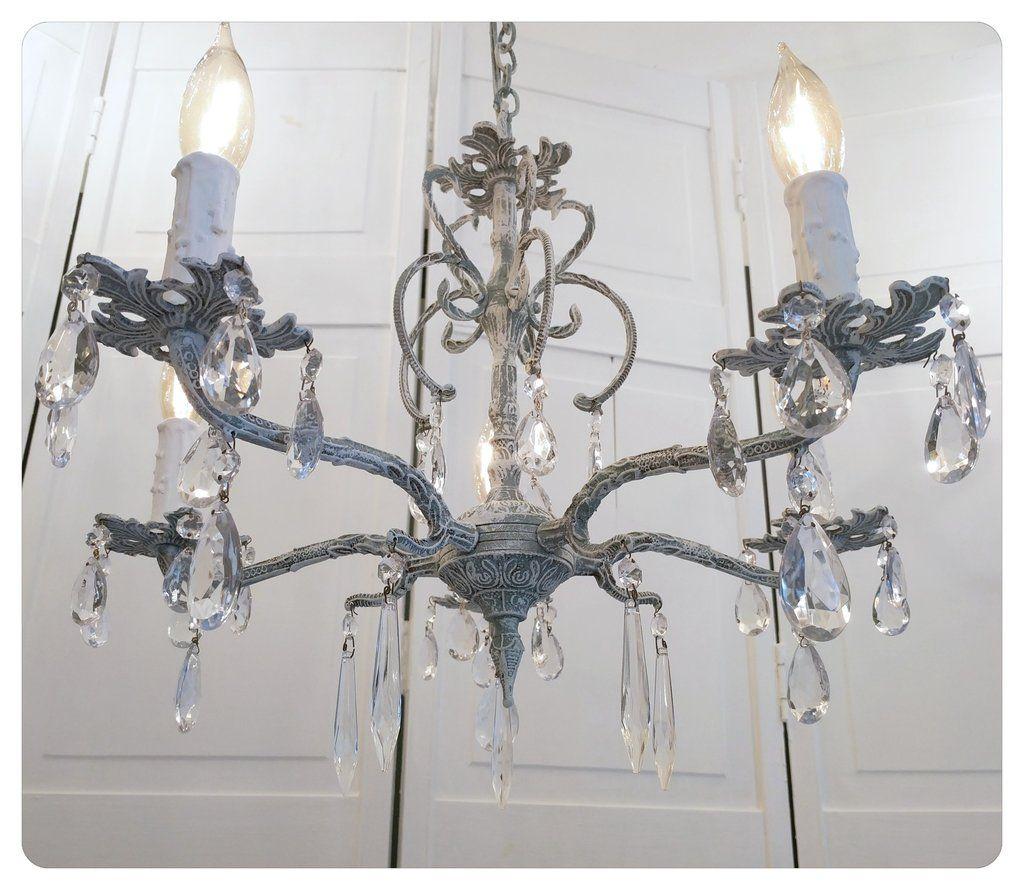 Vintage spanish brass chandelier crystal drops shabby chic rustic vintage spanish brass chandelier crystal drops shabby chic rustic arubaitofo Images