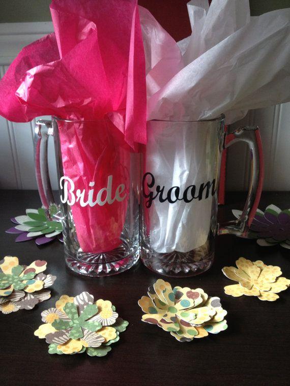 Bride & Groom Beer Mugs by thefavorfairies on Etsy, $20.00