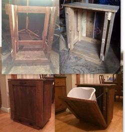 Pallet furniture kitchen trash can container this was harder than it looked but i like how - Kitchen trash can ideas ...