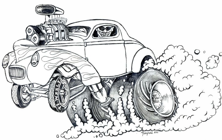 Muscle Monster Car Cartoon Art Race Car Coloring Pages Coloring