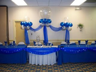 Royal Blue Yellow And Silver Centerpiece Wedding Head