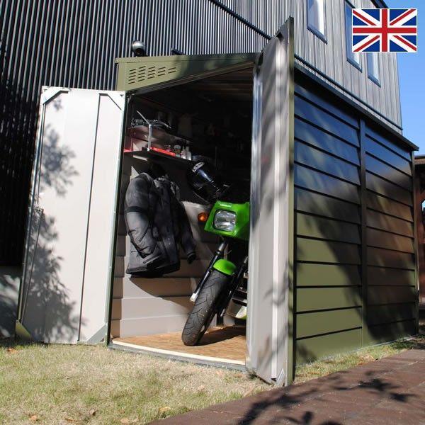 物置 バイク バイク倉庫 バイクガレージ 屋外おしゃれな物置 自転車収納 英国 イギリス 製 メタルシェッド Tm2 ペントルーフ 郵便ポスト 表札のjuicygarden 通販 Paypayモール 小屋を建てる タイヤ 保管 屋外収納